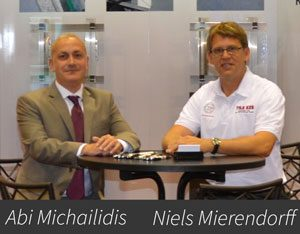 Abi Michailidis and Niels Mierendorff at Trade Show - Keil Anchor TILE EZE